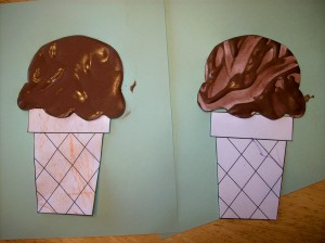cone on left--done by 4-year-old; cone on right--done by 2-year-old
