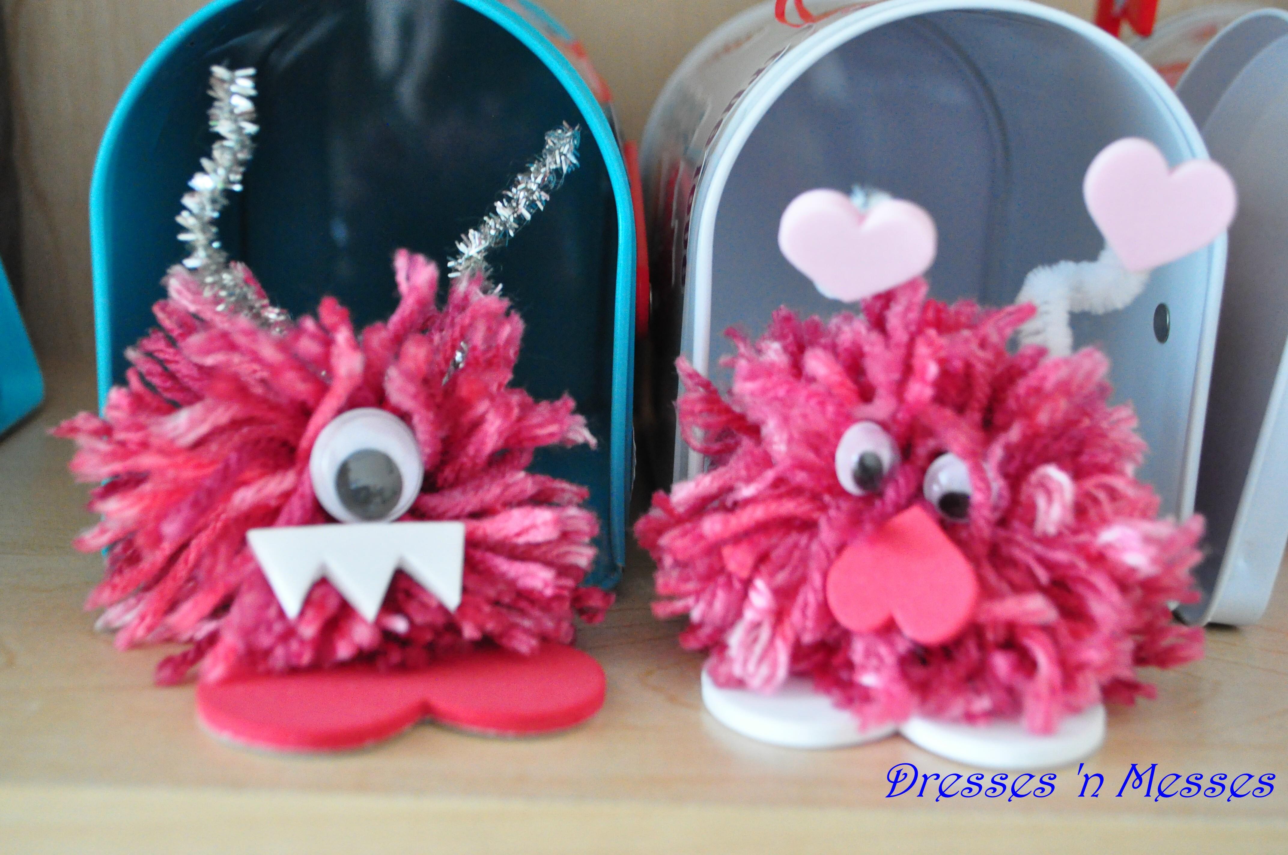 Homemade Pom Pom Valentine Love Monsters Dresses N Messes